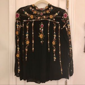 Zara Embroidered Long Sleeve Blouse